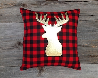 Deer Pillow Cover, Deer Antler Pillow Cover, Christmas Pillow, Christmas Decoration Under 25, Holiday Decoration, Plaid Decor,Buck Pillow
