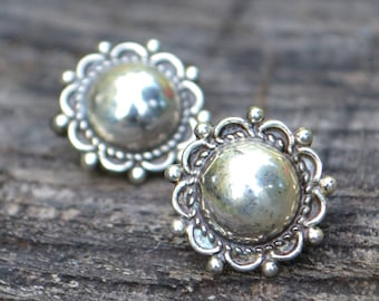 Vintage Sterling Silver Mexican Clip-On Earrings