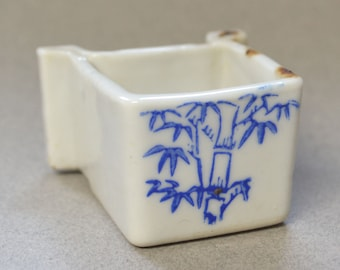 Vintage Japanese Bird Waterer / Ceramic Dish with Bamboo