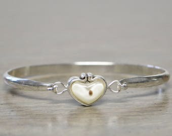 Vintage Silver-Tone Bracelet with Mustard Seed in Heart