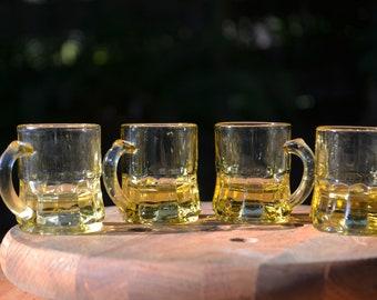 Set of 4 Amber Glass Federal Shot Glasses