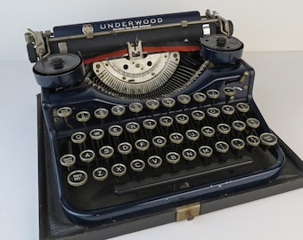 Deep navy blue Antique c. 1929 Underwood Standard Four Bank Keyboard Typewriter - evidence of repainting or touch up