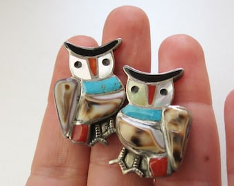 Vintage Signed Zuni Owl Earrings with Silver Turquoise Coral Shell Onyx M.O.P. , Blake and Velma Lesansee