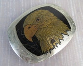 Brass copper noble Eagle belt buckle silver tone inscribed