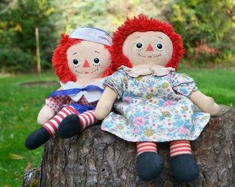 Pair of Vintage Raggedy Ann & Raggedy Andy Dolls