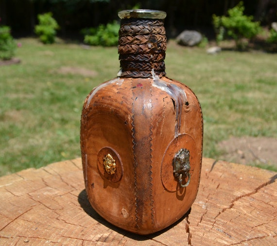 Italian Clear Glass Driveway: Vintage Italian Leather Wrapped Clear Glass Decanter