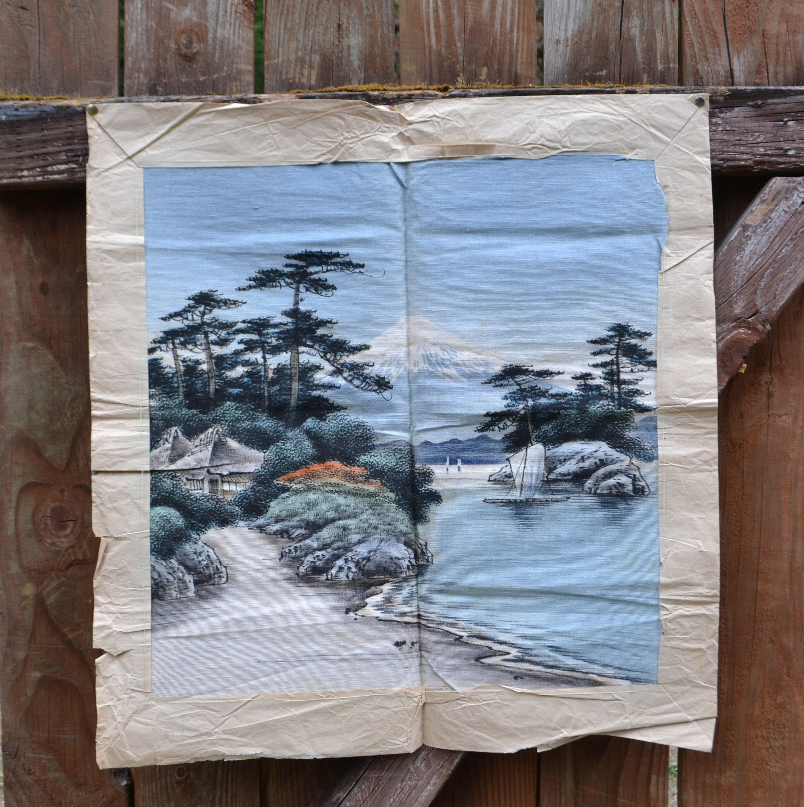 de263945e437 Vintage mount fuji japanese textile art tapestry wall etsy jpg 2820x2830 Mount  fuji antique japanese tapestry