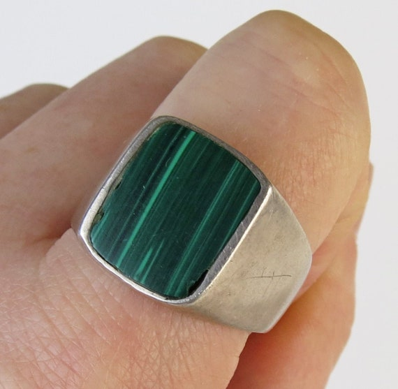 Vintage Mexican Sterling Silver Malachite band rin