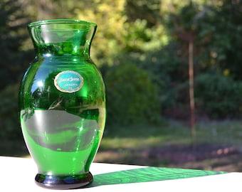 Mid-Century Forest Green Glass Vase, Anchor Hocking