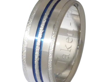 Titanium Sterling Silver Earrings Blue Frost TS107