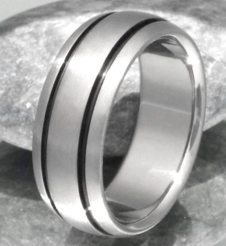 Womans Ring Handcrafted Titanium Titanium Ring bk10 Mans Ring Black Titanium Wedding Band Black Ring