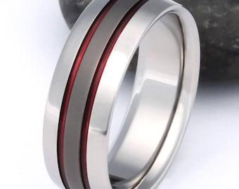 Thin Red Line Titanium Wedding Band - Firefighter's Titanium Ring - Handcrafted Titanium Band - Red Promise Ring - sa11Red