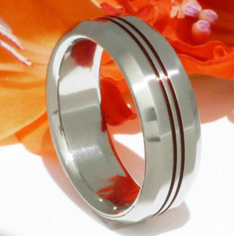 Firefighter/'s Ring Thin Red Line Titanium Band Two Red Lines r26