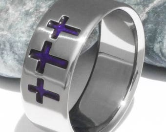 Titanium Christian Wedding Band - Holy Trinity Band - Three Crosses - Christian Commitment Ring - cr5 purple