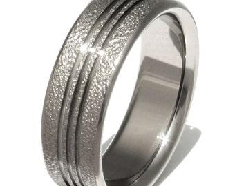 Titanium Frost Finish Wedding Band - Unique Titanium Ring - Handcrafted Titanium Engagement Ring - Textured Titanium Band -  f11