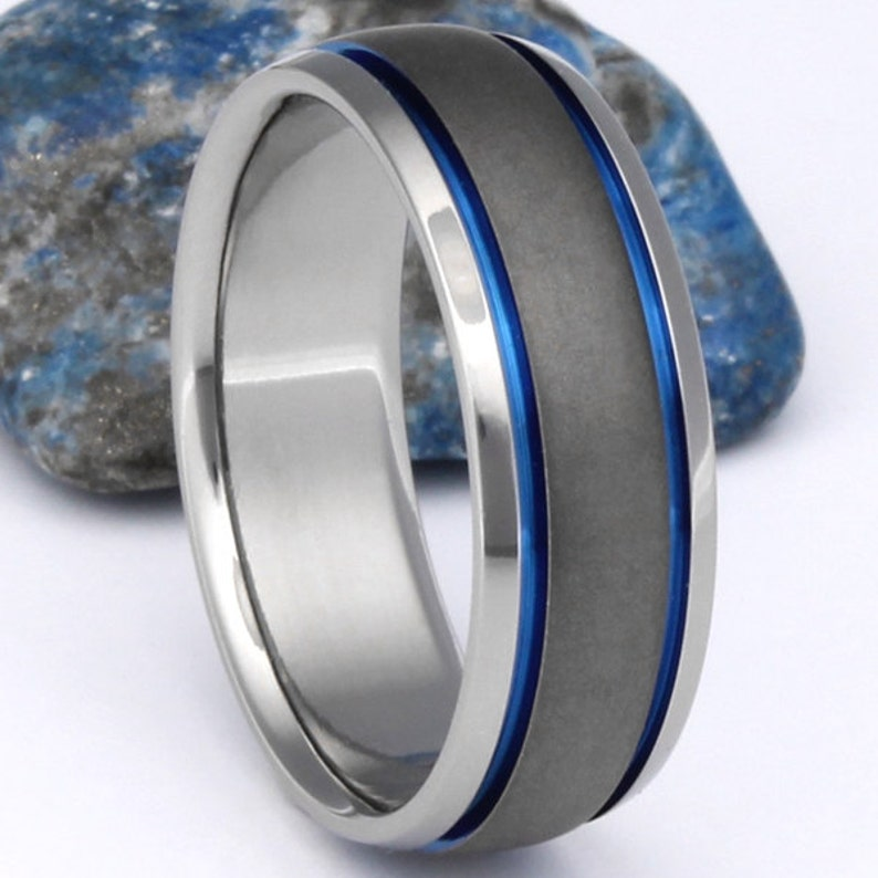 Handcrafted Thin Blue Line Titanium Rings Blue groves and image 0