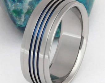 Titanium Wedding Band - Thin Blue Line Ring - Handcrafted Unique Titanium Band - b3