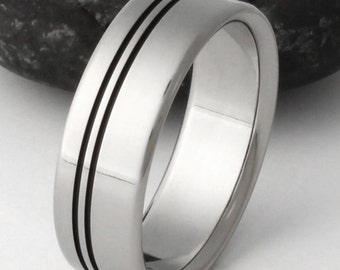 Black Titanium Wedding Band, Two Black Stripes Ring, His and Hers Ring, Handcrafted Titanium, Black Ring - bk8
