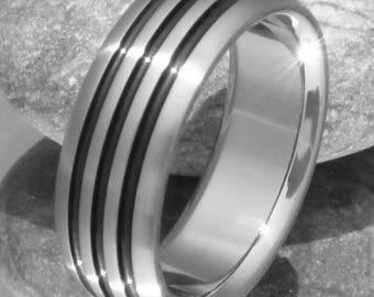 Hammered Titanium Wedding Band Custom Textured Titanium Ring