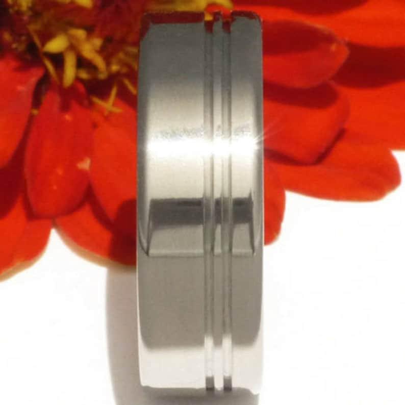 Two Carved Stripes Unisex Anniversary Gift n8 Simple Titanium Engagement Ring Titanium Wedding Band