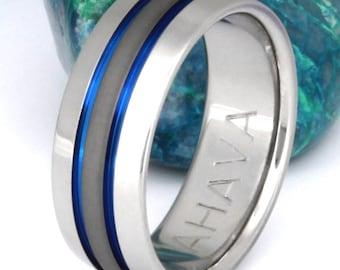 Thin Blue Line Titanium Ring - Anodized Blue Stripe Ring - Exclusive Sable Finish - Handmade Blue Titanium Engagement Band - sa11