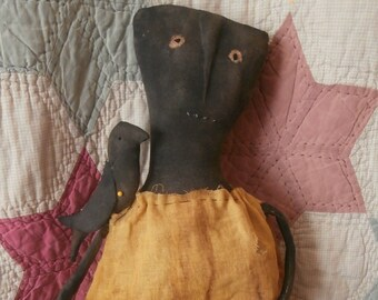 Primitive Handmade Folk Art Black Doll – Miss Birdie