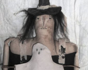 Folk Art Old Style Primitive Witch and Pull Toy, - Little Myrtle
