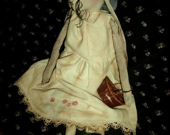 Handmade Folk Art Primitive Spring Rabbit With Basket