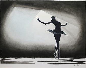 Black Swan Ballerina Watercolor Painting