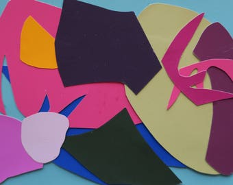 collage, mini collage, colorful mixed media painting, paper collage, original design, card and envelope, shapes, hand cut, design elements