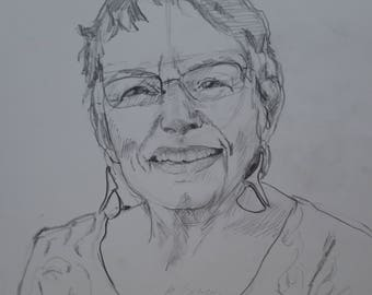 self portrait graphite on drawing paper, portrait, woman, older woman portrait, portrait of the artist, black, white, gray, 14 x 11 inches