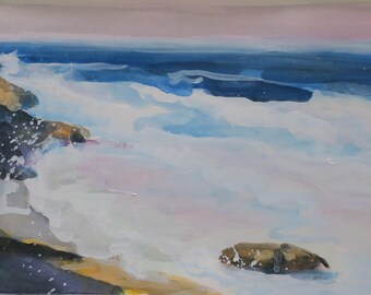 watercolor impressionist ocean scene - low country - South Carolina coast - gouache - watercolor - small - 5x7 inches - seascape - art