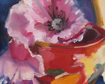 impressionistic oil painting - painting on paper - still life impressionism - floral -  peony painting - red earthenware pot- floral -12 x 8