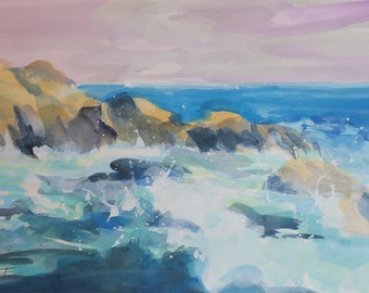 small ocean scene, rough seas, rocks, beach scene, ocean, waves, original watercolor, mat and backing, gift, home decor, housewarming, sea
