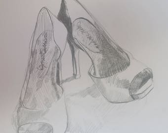 graphite drawing of Red high heel shoes, 14 by 11 inch drawing, black , white, gray, drawing, pencil sketch, shoe drawing, crosshatching