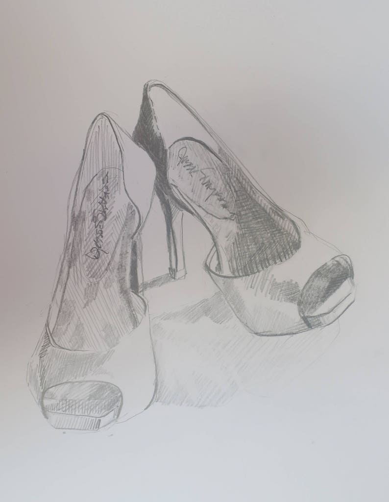 Graphite drawing of red high heel shoes 14 by 11 inch etsy