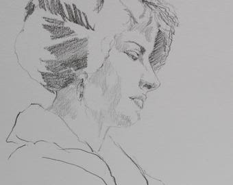 lady daily sketch, black white and gray, drawing, original sketch of a vintage lady, bedroom art, boutique art, portrait, woman drawing, art