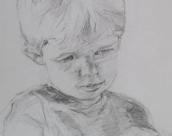 boy sketch, contour line drawing, original drawing, graphite, mark making , black, white, gray, expressive graphite drawing, original sketch