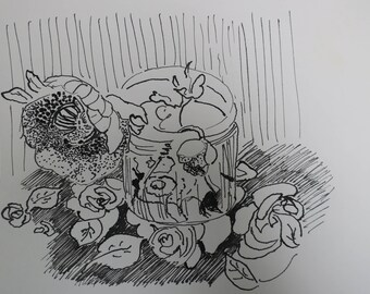 ink , drawing , oriental style ink wash , still life , vase , black , white ,  sketch, birthday , gift , housewarming , Chinese ink , wash