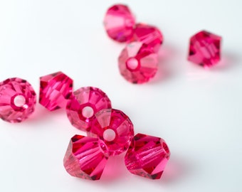 Indian Pink Bicone Crystal Beads
