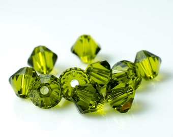 Olivine Green Bicone Crystal Beads