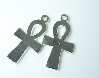 Silver Plate Ankh Pendant Pair