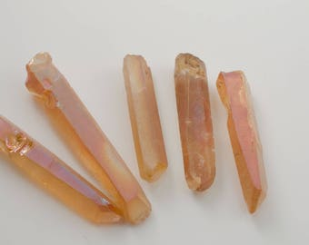 Apricot Copper Fumed Quartz Prism Nuggets Daggers Spike Stick Beads