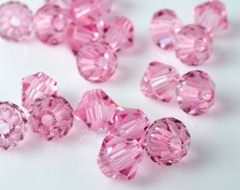 Light Rose Bicone Crystal Beads