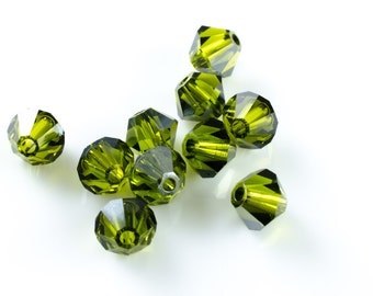 Olivine Satin Green Bicone Crystal Beads