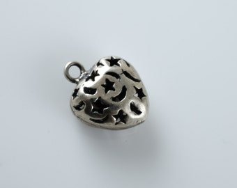 Base Metal Silver Celestial Heart Charm