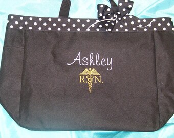 Medical  Ribbon top Rn Nurse Bag Personalized with name you choose color   Cna. Na  Lpn.Np. Dr.