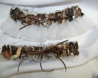 Max 4 Garter   WHITE camouflage sheer camo bridal garter set Black, Pink, Brown, ivory,  blue any color sheer Wedding