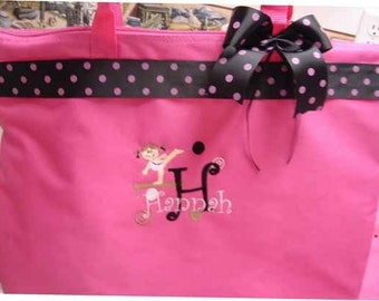 Gymnastics Tote Bag personalized gymnast Ribbon bow top PREPPY gift
