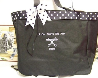 Cosmotologist Beautician Tote Bag Personalized polka dot trim